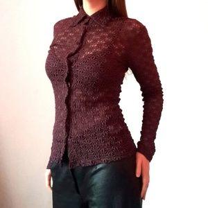 Tops - Vintage Purple Lace Button Down Long Sleeve Blouse